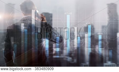 Market Chart With People Silhouettes. Trading Investment Business Intelligence Concept.