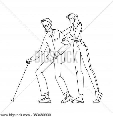 Caregiver Nurse With Elderly Man Walking Vector