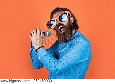 Sing To The Rhythm Of Your Heart. Concept Of Music. Performer Having Fun. Mature Bearded Man In Funn