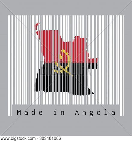 Barcode Set The Shape To Angola Map Outline And The Color Of Angola Flag On White Barcode With Grey