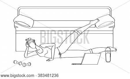 Woman Athlete Making Aerobics Exercise Vector Illustration