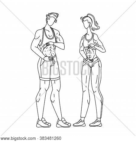 Fitness People Showing Abs And Flat Belly Vector