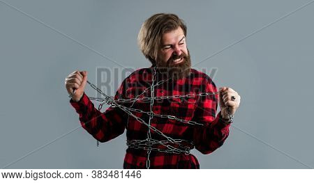 Break Your Problems. Male Fashion. Strong Man With Chains. Problem Solving. Man In Captivity. Concep