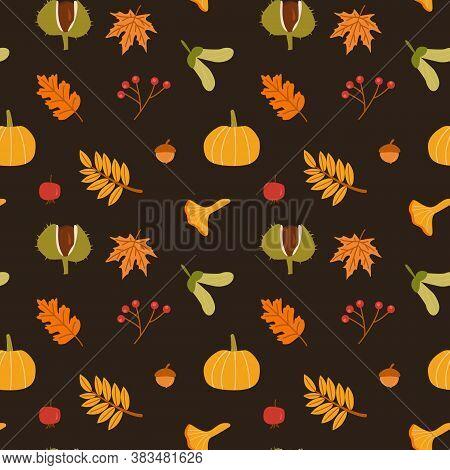 Autumn Leaves, Mushrooms, Pumpkin And Berries Vector Seamless Pattern. Fall Season Foliage With Acor