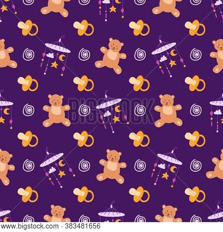 Childhood Or Baby Shower Theme Seamless Pattern - Nipple, Teddy Bear, Toy, Rattle, Abstract Elements