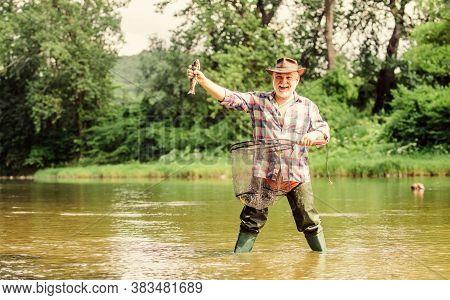 Now The Real Fun Begins. Summer Weekend. Fisherman With Fishing Rod. Mature Man Fishing. Pothunter.