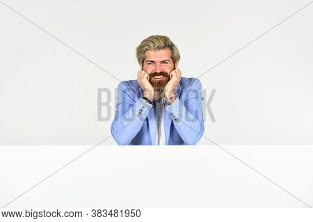 Businessman Lean On Copy Space Surface. Commercial Banner. Goods For Men. Business Man Wearing Forma