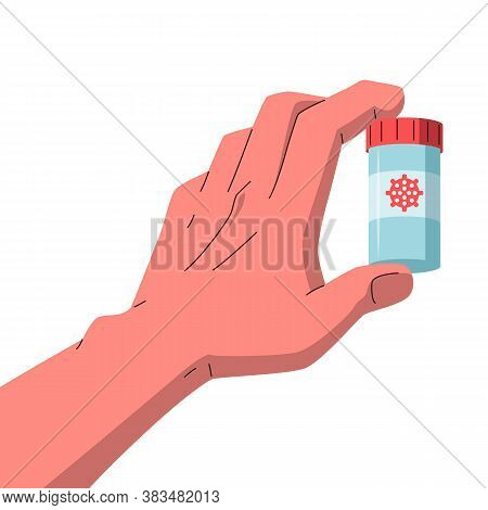 Coronavirus Vaccine In A Hand. Vector Illustration Of A Hand Holding Vaccine Medicine Bottle With A