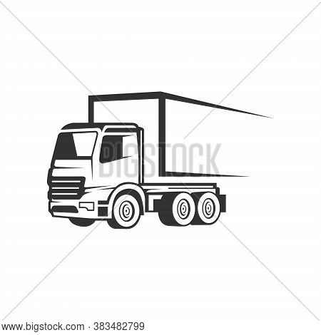 Truck Logistic Vector Silhouette Logo Template. Perfect For Delivery Or Transportation Industry Logo
