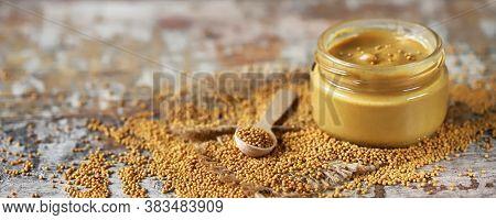 Natural Mustard In A Jar. Grains Of Mustard. Homemade Mustard. Organic Mustard. Selective Focus. Mac