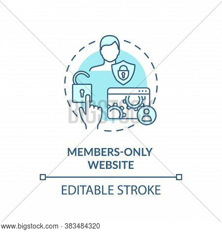 Members Only Website Concept Icon. Internet Business, Membership Program Idea Thin Line Illustration
