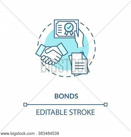 Bonds Concept Icon. Business Investment Strategy Idea Thin Line Illustration. Purchasing Corporate O