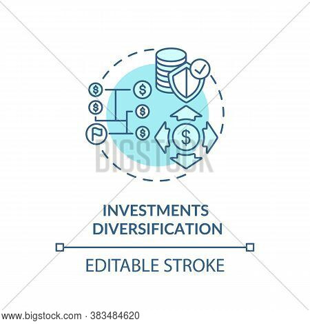 Investments Diversification Concept Icon. Capital Management Strategy Idea Thin Line Illustration. S