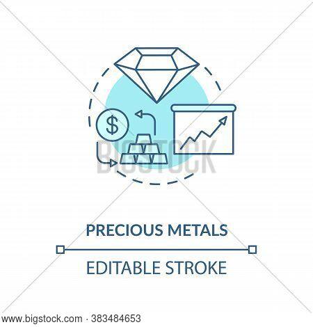 Precious Metals Concept Icon. Capital Investment Idea Thin Line Illustration. Finances Diversificati