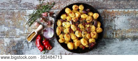 Baked Potatoes In A Pan. Cooking At Home. Appetizing Potatoes.