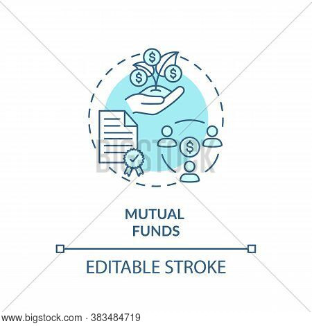 Mutual Funds Concept Icon. Stock Market Trading, Collective Investment Capital Idea Thin Line Illust