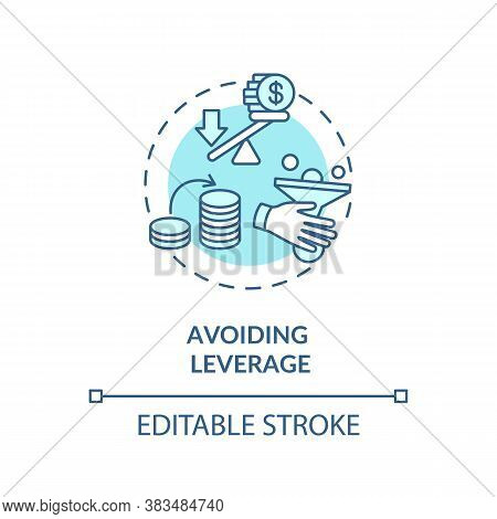 Avoid Leverage Concept Icon. Stock Market Trading Risks Awareness. Investment Tips Idea Thin Line Il