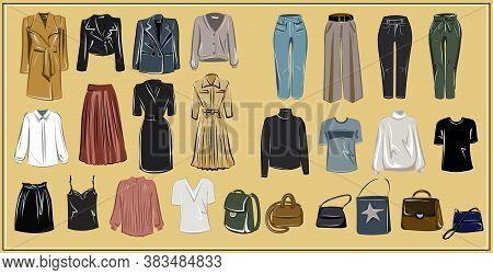 Clothes And Bags. Coats, Dresses, Skirts, Blouses, Trousers, Jeans, Backpack, Briefcase, Handbags. F