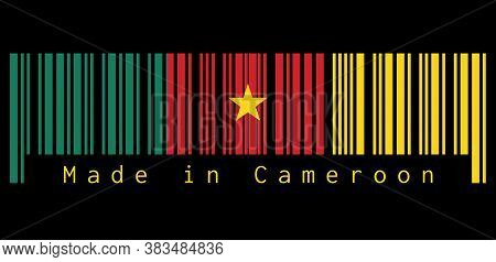 Barcode Set The Color Of Cameroon Flag, Green, Red And Yellow, With A Gold Star On Black Background,