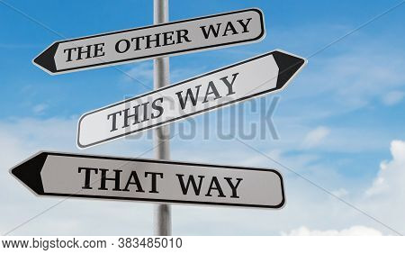 Confusing Road Sign Arrows Pointing In Different Directions. Decision And Choice Concept. 3d Rendere