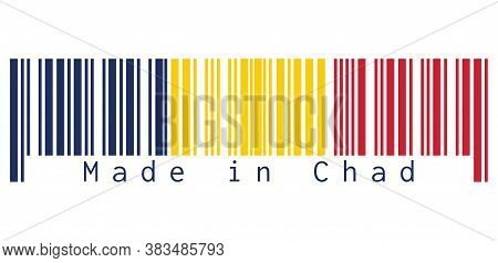 Barcode Set The Color Of Chad Flag, A Vertical Tricolor Of Blue, Gold, And Red On White Background,