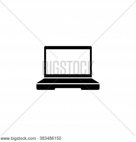 Laptop Computer, Notebook Or Netbook. Flat Vector Icon Illustration. Simple Black Symbol On White Ba