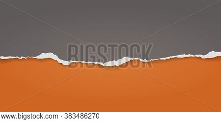 Pieces Of Torn, Ripped Black Paper With Soft Shadow Are On Orange Background For Text. Vector Illust