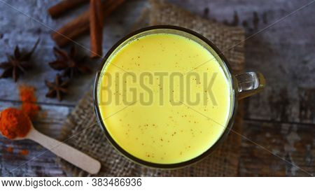 Turmeric Milk. Healthy Milk Drink. Antiviral Drink With Milk And Turmeric.