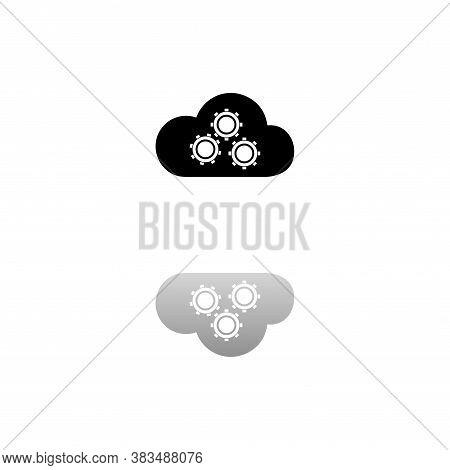 Cloud Storage Preferences. Black Symbol On White Background. Simple Illustration. Flat Vector Icon.