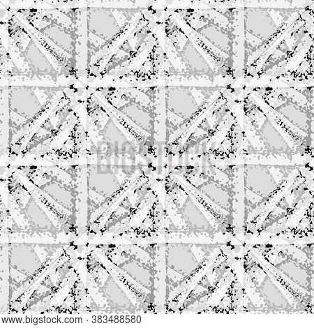 Vector Braid Effect Grid Weave Seamless Interlace Pattern Background. Monochrome Gray Marble Woven S