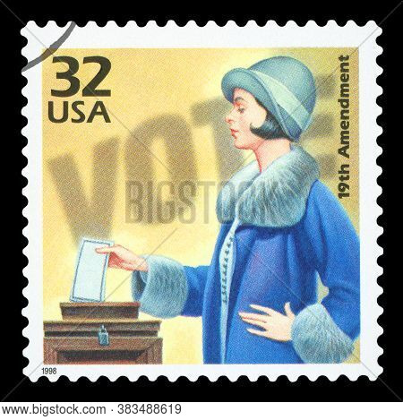 United States Of America, Circa 1998: A Postage Stamp Printed In Usa Showing An Image Of A Woman Vot