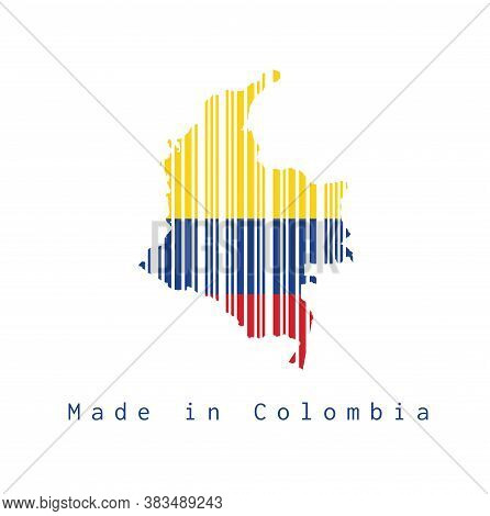 Barcode Set The Shape To Colombia Map Outline And Flag Color On White Background, Text: Made In Colo