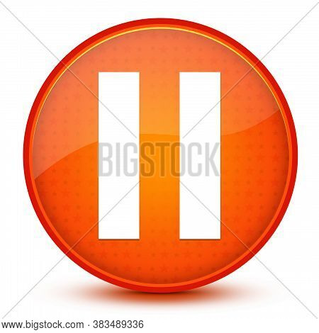 Pause Round Button On Glossy Orange Abstract Background