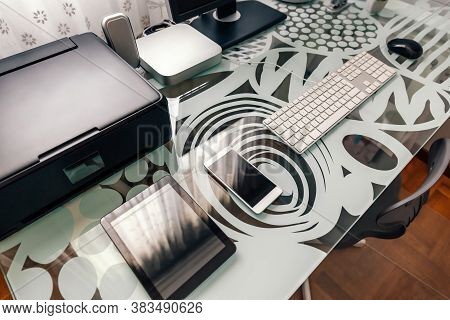 Tidy Workstation With Table And Technological Devices