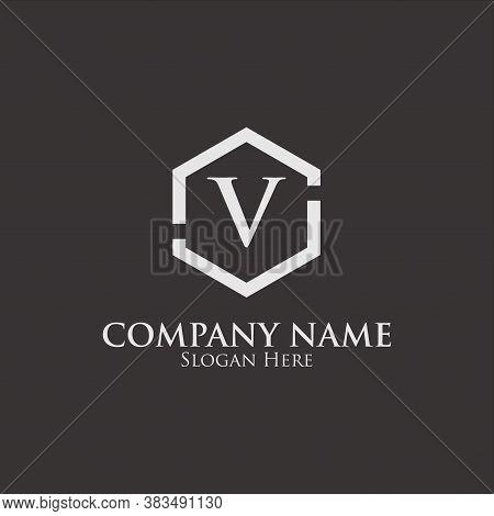 Intial V Logo. V Logo On Hexagon Shape. Monogram Intial V Logo. Company Logo Template. Intial V Logo