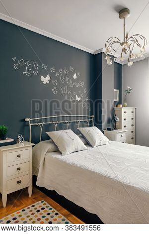 Elegant Furnished Double Bedroom With Bed, Bedside Tables And Symphonier