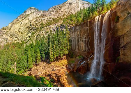 Panorama Of Vernal Fall Waterfall On Merced River From Mist Trail In Yosemite National Park. Summer