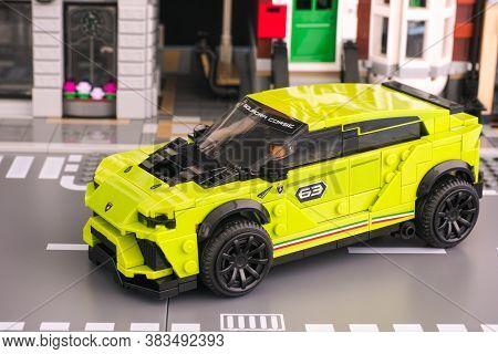 Tambov, Russian Federation - June 24, 2020 Lego Lamborghini Urus St-x Car By Lego Speed Champions On