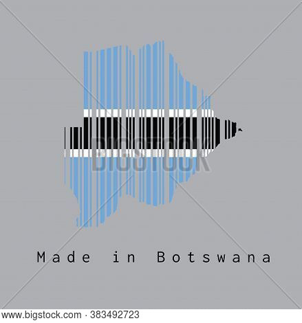 Barcode Set The Shape To Botswana Map Outline And Flag Color On Grey Background, Text: Made In Botsw