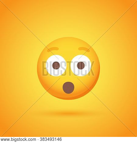 Shock Emoticon Smile Icon With Shadow For Social Network Design
