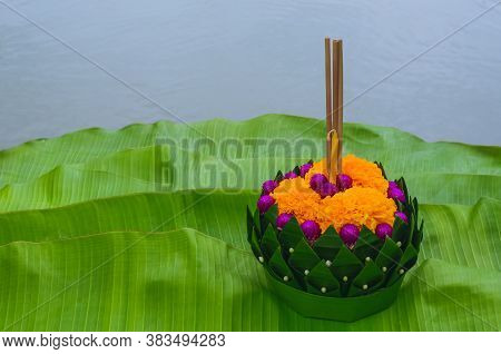 Banana Leaf Krathong That Have 3 Incense Sticks And Candle Decorates With Flowers For Thailand Full