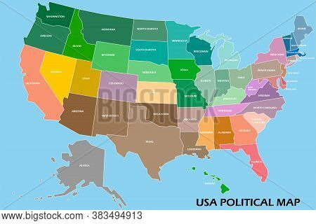 United States Of America Political Map Divide By State Colorful Outline Simplicity Style. Vector Ill
