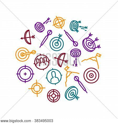 Target Signs Thin Line Concept Round Design Template Banner Include Of Aim, Arrow, Focus And Weapon.