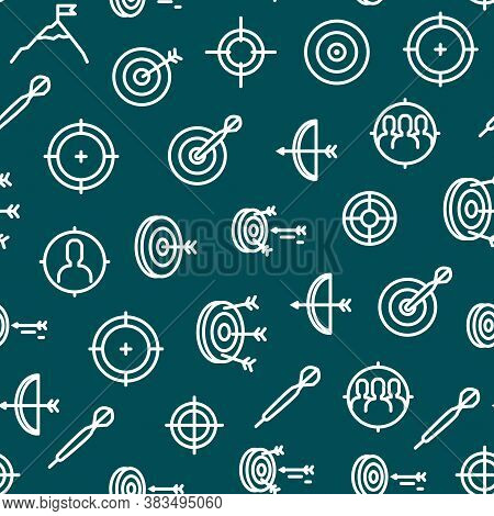 Target Signs Thin Line Concept Seamless Pattern Background Include Of Aim, Arrow, Focus And Weapon.