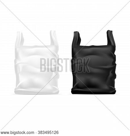 Realistic Detailed 3d White And Black Blank Disposable Plastic Bag Empty Template Mockup. Vector Ill