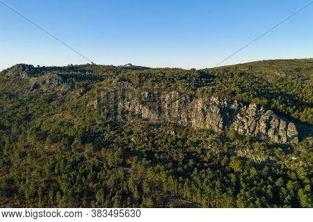 Landscape Drone Aerial View Of Serra De Sao Mamede In Castelo De Vide, Portugal