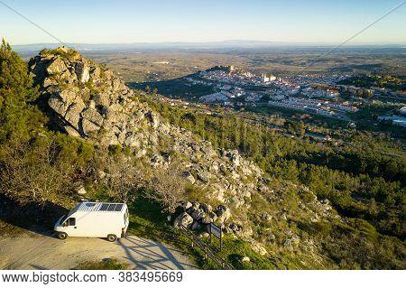 Castelo De Vide Drone Aerial View In Alentejo, Portugal From Serra De Sao Mamede Mountains And A Cam