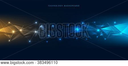 Abstract Connecting Dots And Lines With Geometric Polygons Shape With Lighting On Blue Background. T