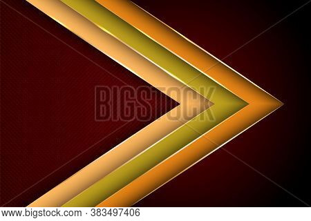 Polygonal Arrow With Gold Triangle Edge Lines Banner Vector Design. Glamour Business Background Temp