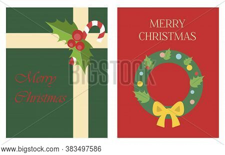 Christmas Greeting Card In Flat Style. Bright Illustration With A Gift From Santa Claus And A Christ